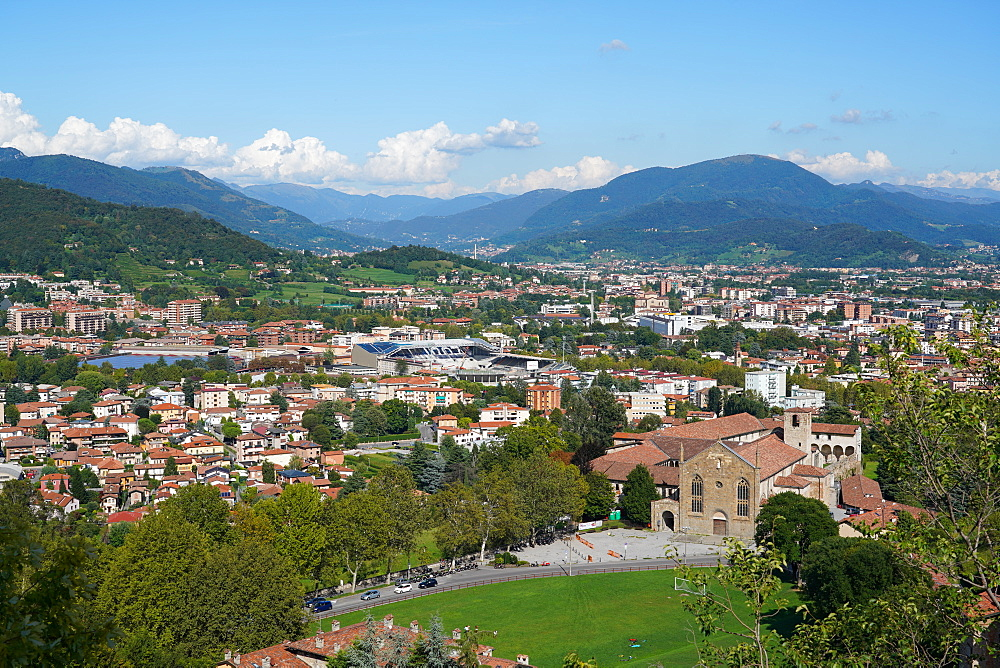 Bergamo lower town seen from Bergamo Alta, Lombardy, Italy, Europe - 819-1148