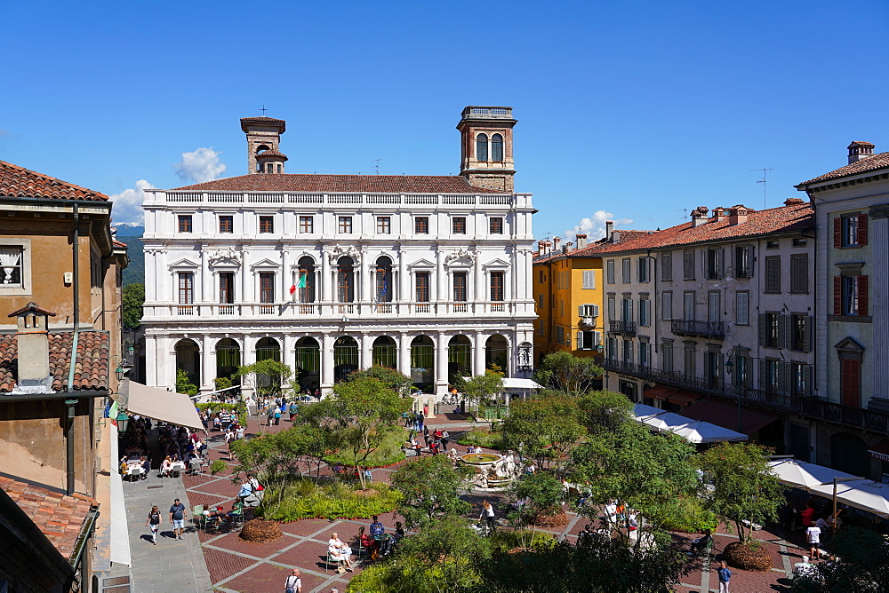 The Old Square and the New Palace of Bergamo, current seat of Angelo Mai Civic Library, Bergamo, Lombardy, Italy, Europe