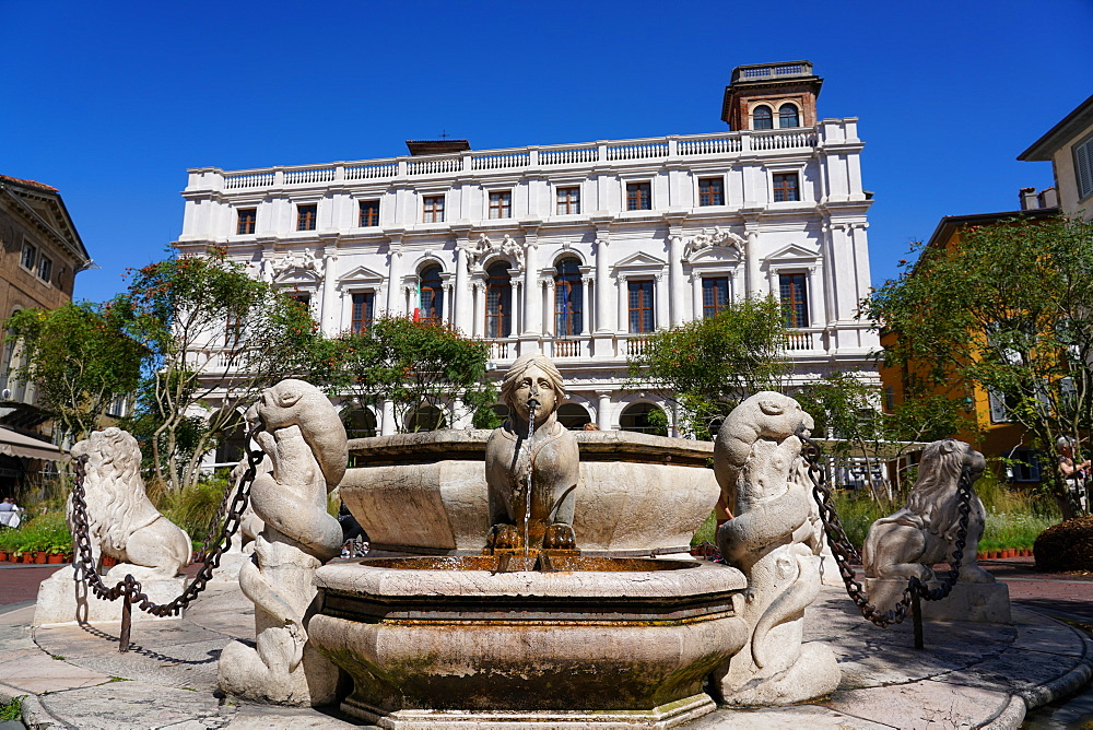 The New Palace of Bergamo, current seat of Angelo Mai Civic Library and Contarini Fountain, Bergamo, Lombardy, Italy, Europe - 819-1155