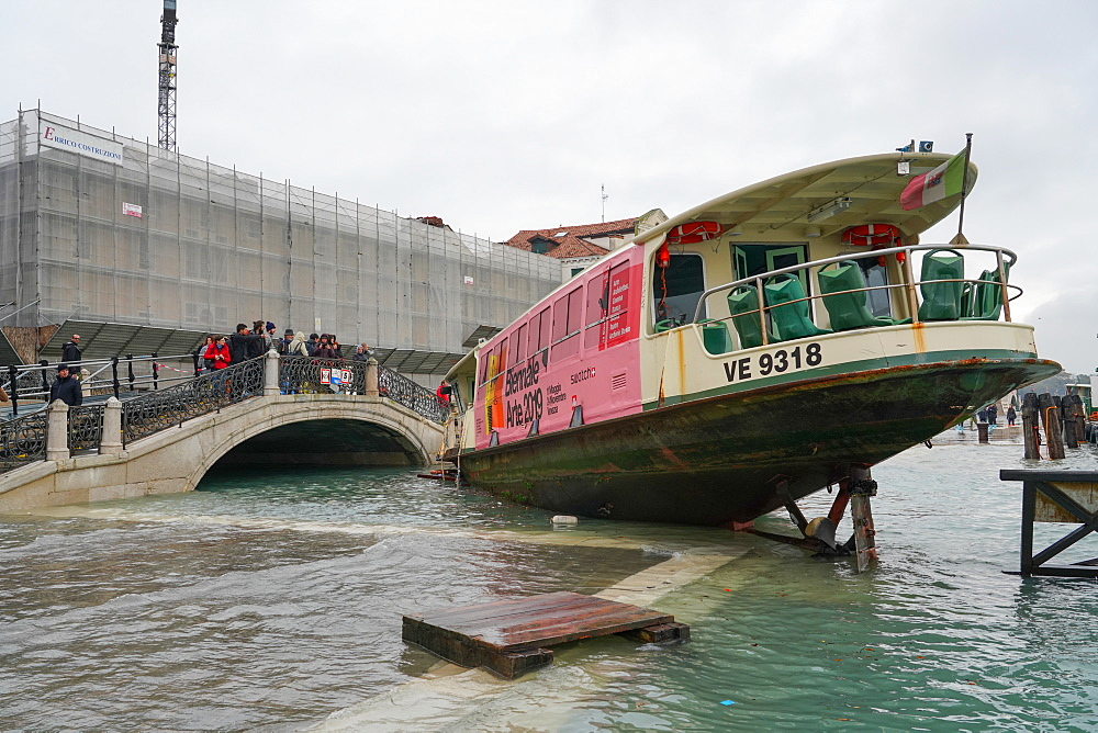 Stranded public boat during the high tide in Venice, November 2019, Venice, UNESCO World Heritage Site, Veneto, Italy, Europe