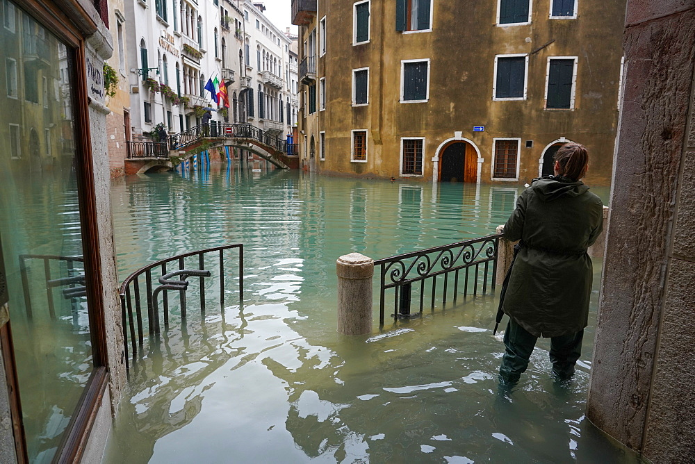High tide in Venice, November 2019, Venice, UNESCO World Heritage Site, Veneto, Italy, Europe - 819-1169