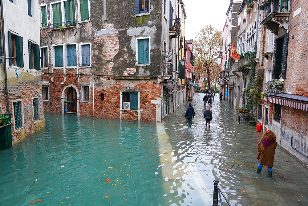 High tide in Venice, November 2019, Campo San Giacomo dell'Orio, Venice, UNESCO World Heritage Site, Veneto, Italy, Europe - 819-1172