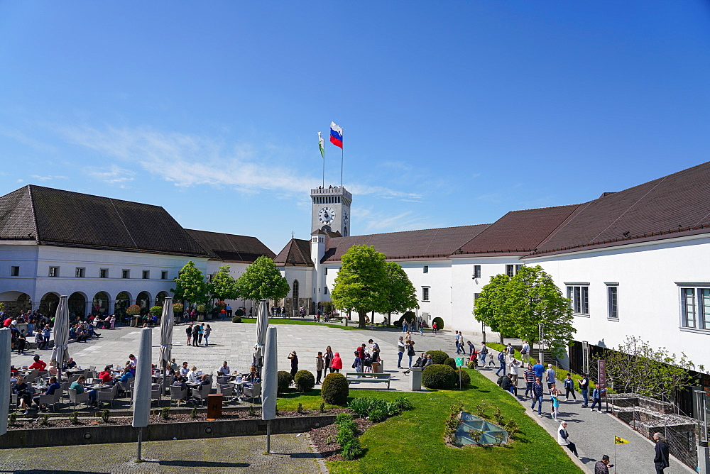 Courtyard of Ljubljana Castle, Ljubljana, the capital and largest city of Slovenia, Europe