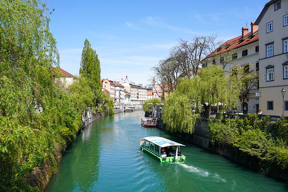 Ljubljanica River, downtown Ljubljana, the capital and largest city of Slovenia, Europe