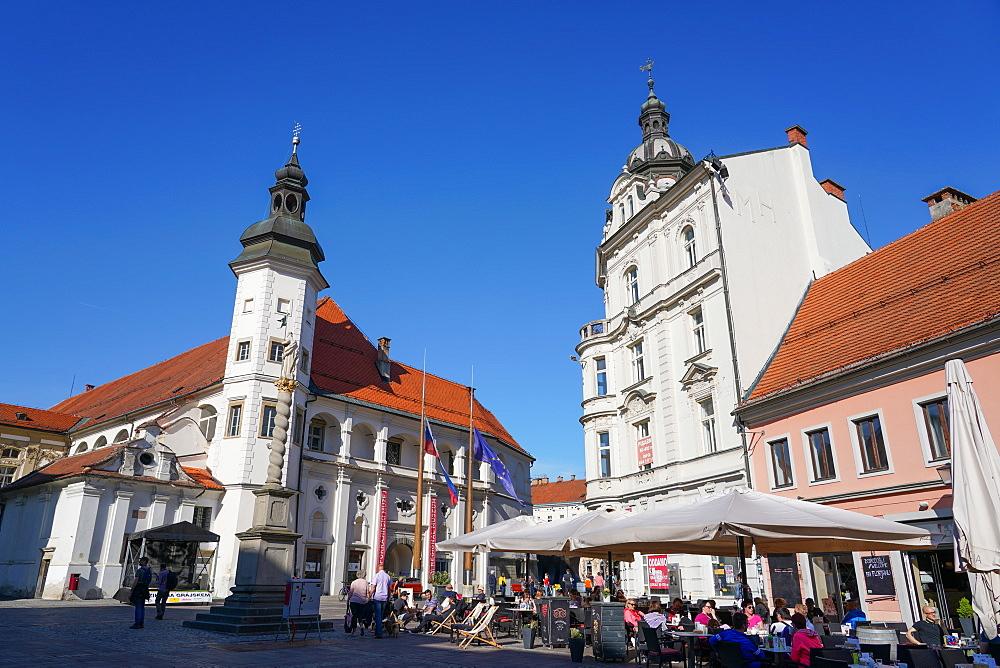 Maribor Castle and Florian column, Maribor, Slovenia, Europe