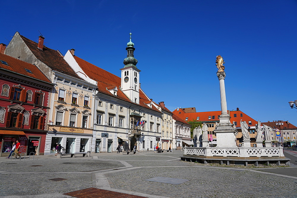Maribor Town Hall and the plague column, Maribor, Slovenia, Europe - 819-1189