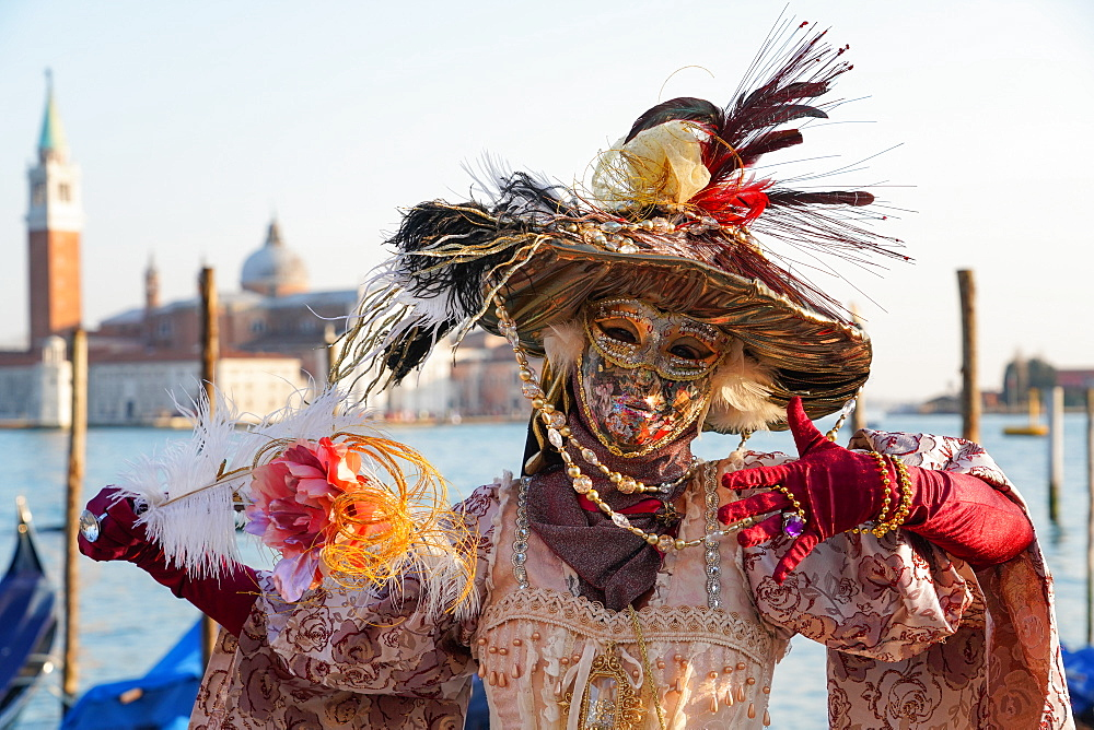 Masks at the Venice Carnival in St. Mark's Square, Venice, Veneto, Italy, Europe - 819-1199