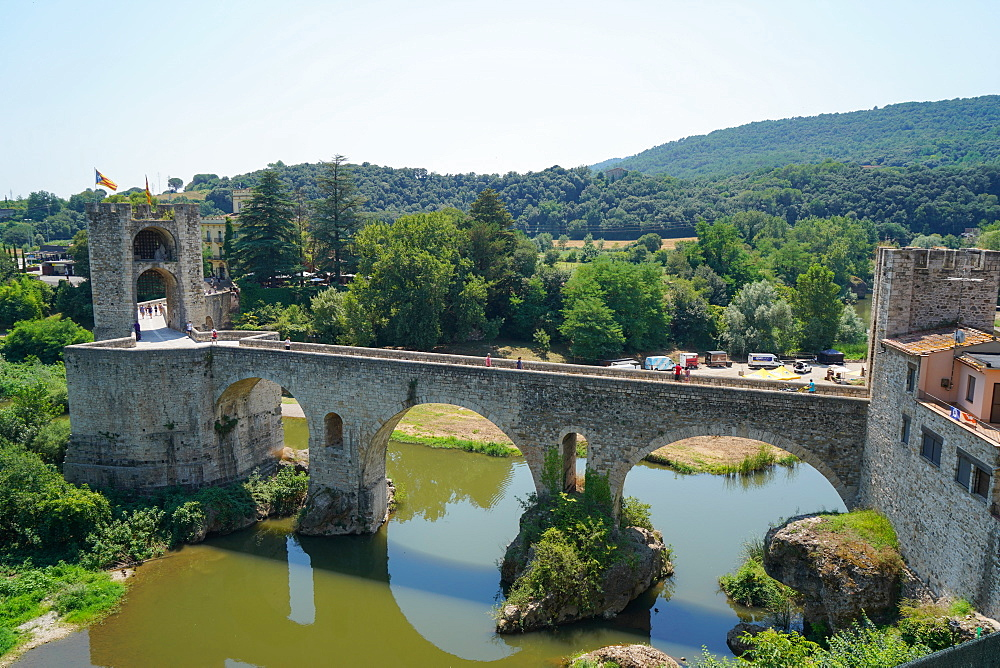 The Medieval arch bridge of Besalú, Girona province, Catalonia, Spain, Europe - 819-1207