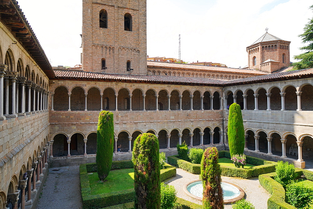 The cloister of Santa Maria de Ripoll Benedictine monastery, Girona province, Catalonia, Spain, Europe - 819-1211