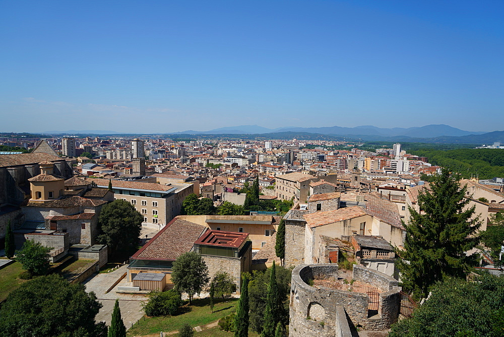 View of Girona from the old city walls, Girona, Catalonia, Spain, Europe - 819-1214