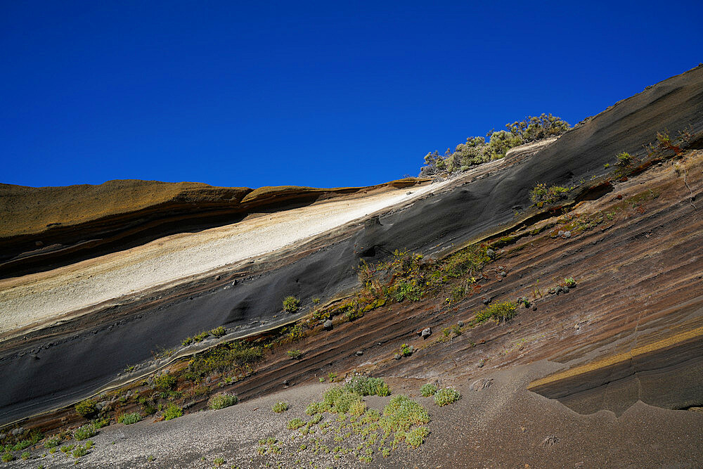Layers of colored rocks, Teide National Park, UNESCO World Heritage Site, Tenerife, Canary Islands, Spain, Atlantic, Europe