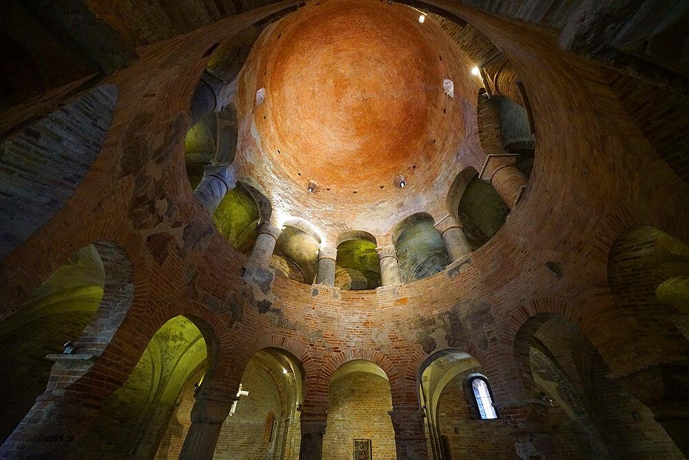 Interior of the Rotonda di San Lorenzo Church, the oldest church in Mantua, Lombardy, Italy, Europe