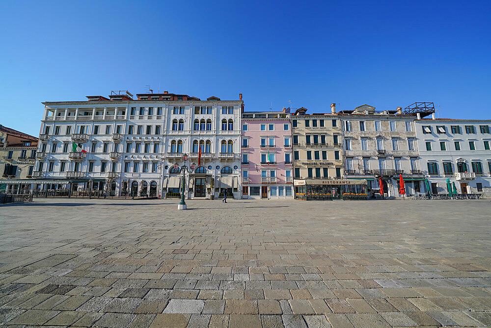 Riva degli Schiavoni during Coronavirus lockdown, Venice, UNESCO World Heritage Site, Veneto, Italy, Europe - 819-1244