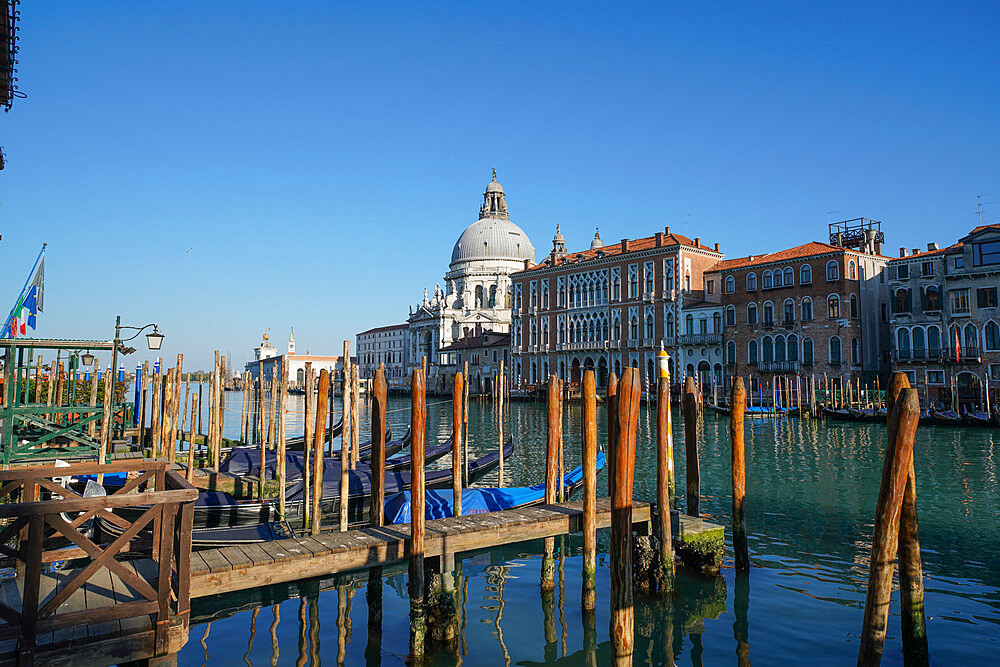 Grand Canal and Salute church during Coronavirus lockdown, Venice, UNESCO World Heritage Site, Veneto, Italy, Europe