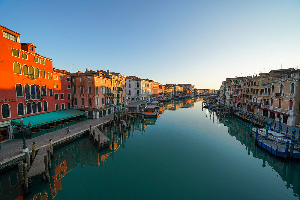 Reflections of the buildings in the calm water of the Grand Canal during Coronavirus lockdown, Venice, UNESCO World Heritage Site, Veneto, Italy, Europe