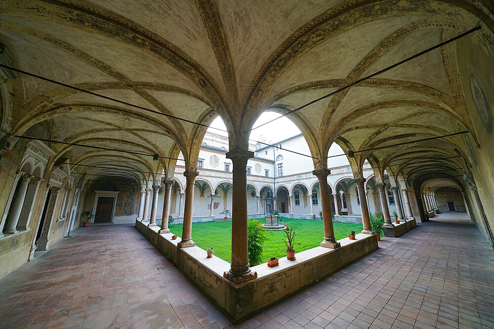 Cloister of the Benedictine Abbey of San Giovanni Evangelista, Parma, Emilia Romagna, Italy, Europe