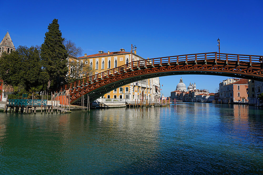 Accademia Bridge and Salute church on the Grand Canal during Coronavirus lockdown, Venice, UNESCO World Heritage Site, Veneto, Italy, Europe