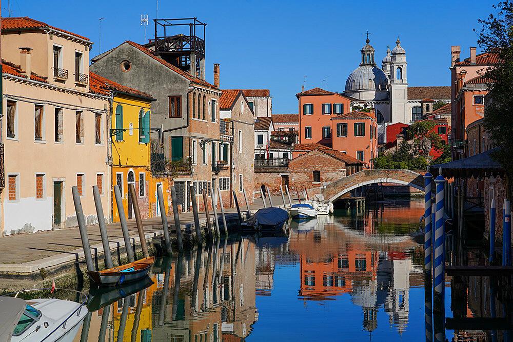 Rio degli Ognissanti and Gesuati church, Dorsoduro neighborhood during Coronavirus lockdown, Venice, UNESCO World Heritage Site, Veneto, Italy, Europe