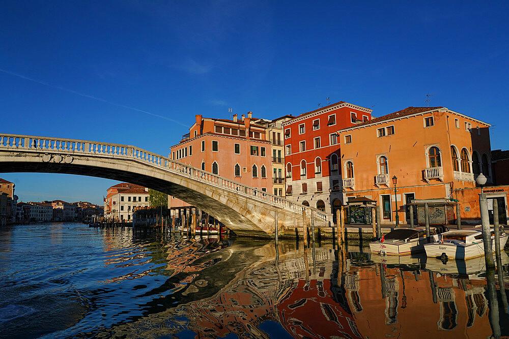 Scalzi bridge on the Grand Canal during Coronavirus lockdown, Venice, UNESCO World Heritage Site, Veneto, Italy, Europe