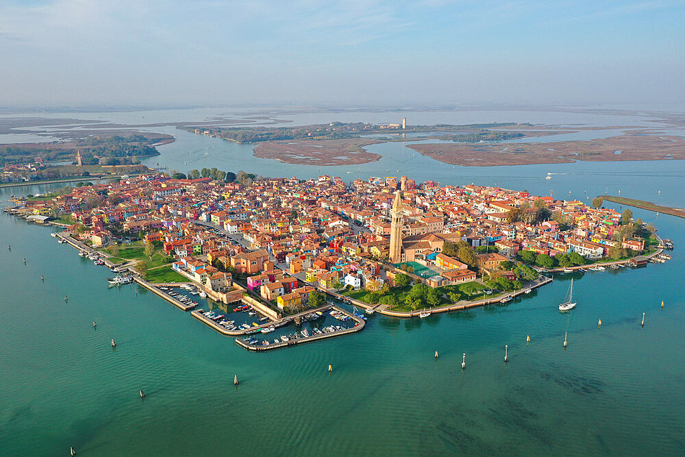 Aerial view of Burano island with Torcello island in the background, Venice Lagoon, Veneto, Italy, Europe - 819-1294
