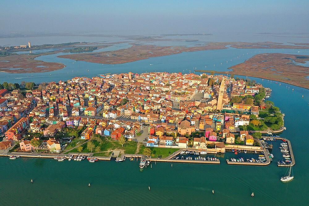 Aerial view of Burano island, Venice Lagoon, UNESCO World Heritage Site, Veneto, Italy, Europe - 819-1295