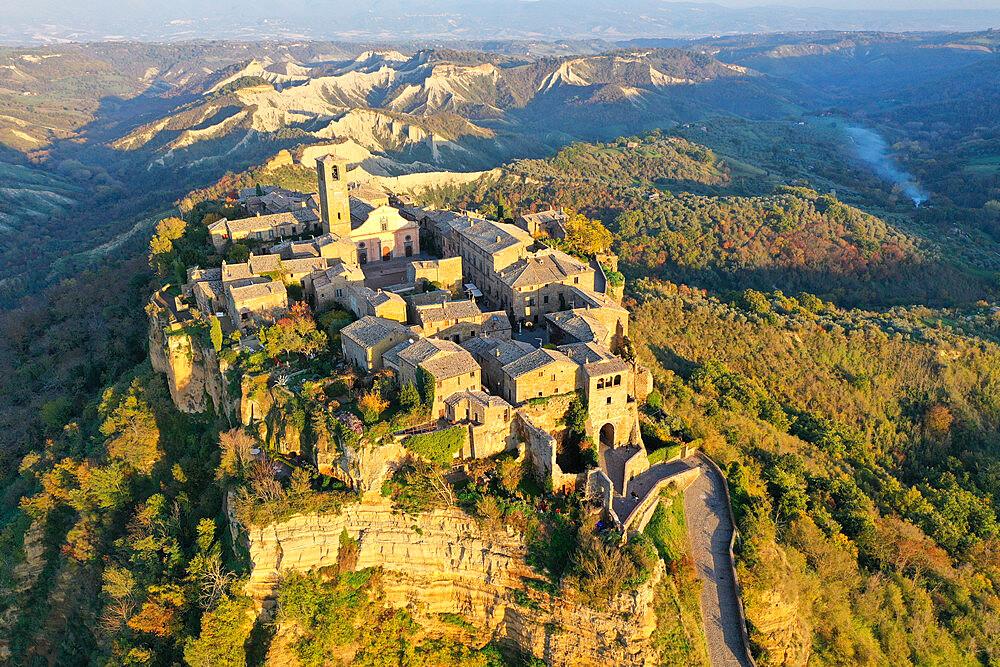 Aerial view of Civita di Bagnoregio village, known as the dying city, Viterbo province, Lazio, Italy, Europe (drone) - 819-1299