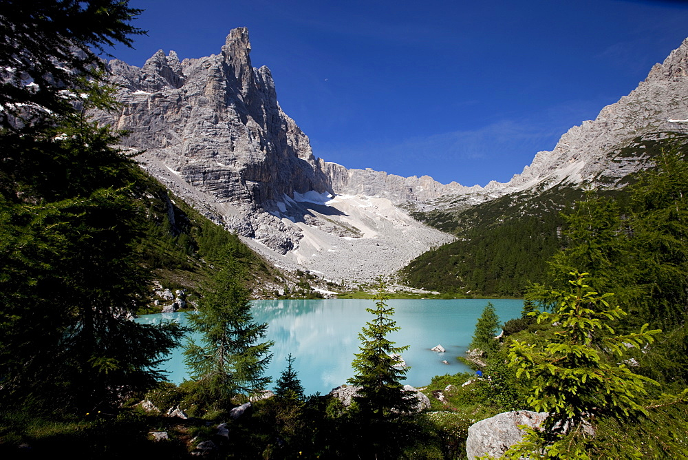 Glacial Sorapiss Lake and God's Finger mountain in the background, Dolomites, eastern Alps, Veneto, Italy, Europe - 819-130