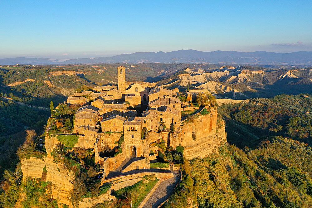 Aerial view of Civita di Bagnoregio village, known as the dying city, Viterbo province, Lazio, Italy, Europe (drone) - 819-1300
