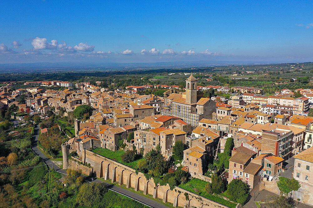 Aerial view of Etruscan village of Vetralla, Viterbo province, Lazio, Italy, Europe (drone) - 819-1301