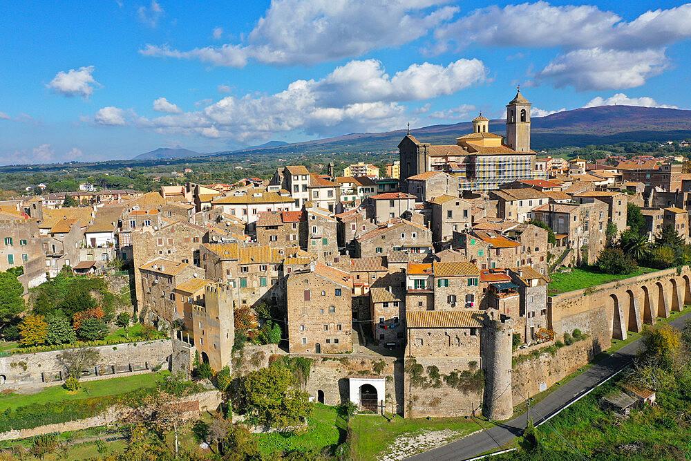 Aerial view of Etruscan village of Vetralla, Viterbo province, Lazio, Italy, Europe (drone) - 819-1302