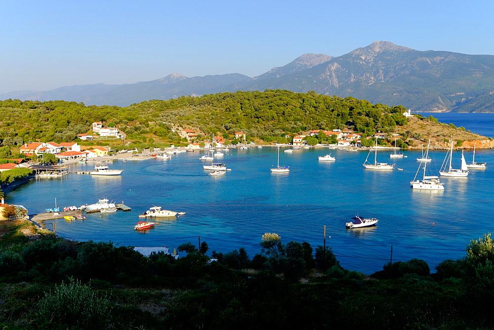 The small port and beach of Posidonio, Samos, North Aegean Islands, Greek Islands, Greece, Europe