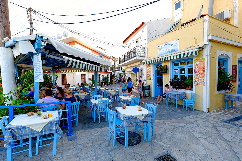 Tavernas in Kokkari, Samos Island, North Aegean Islands, Greek Islands, Greece, Europe