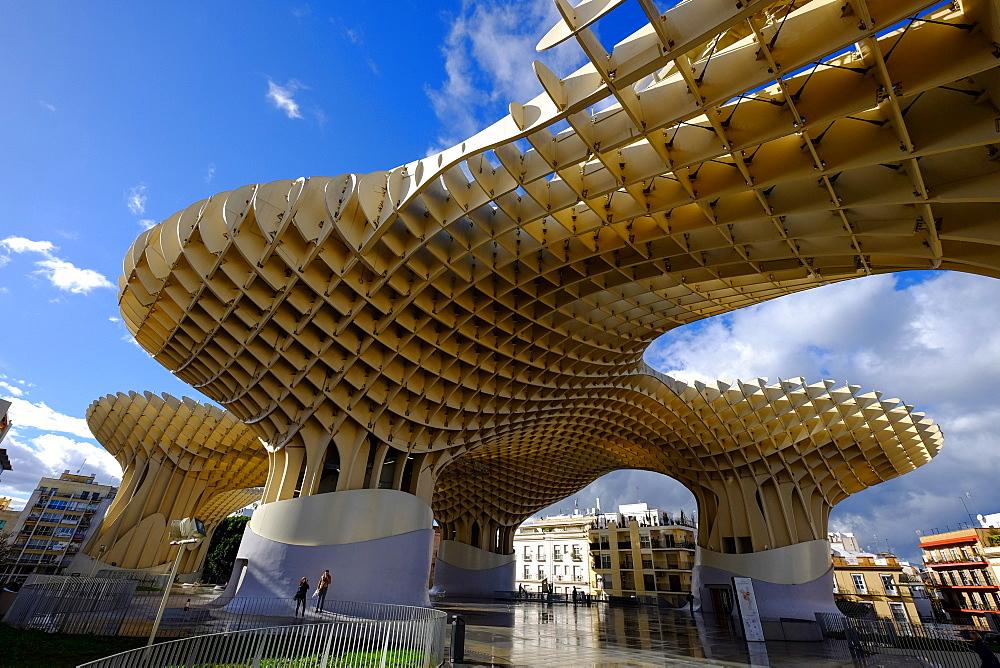 Metropol Parasol, known as Setas de Sevilla (The Mushroom), the world's largest wooden structure, Seville, Andalucia, Spain, Europe - 819-585