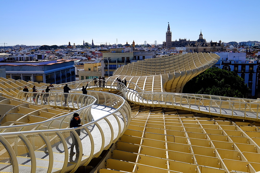 View of city from the top of Metropol Parasol, known as Setas de Sevilla (The Mushrooms), Seville, Andalucia, Spain, Europe
