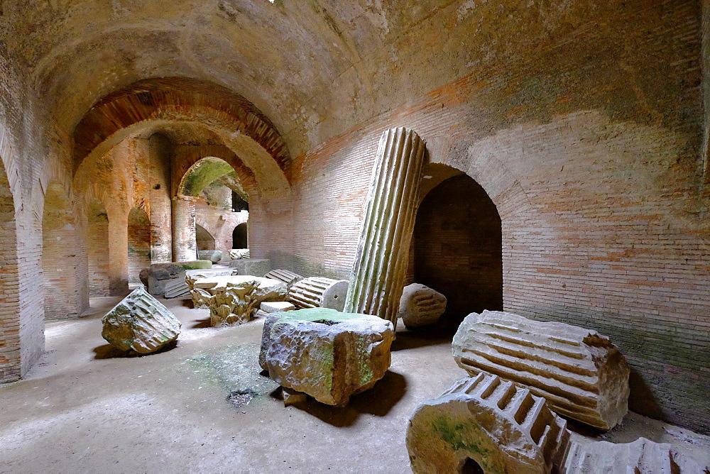 The Underground of the Flavian Amphitheater, the third largest Roman amphitheater in Italy, Pozzuoli, Naples, Campania, Italy, Europe