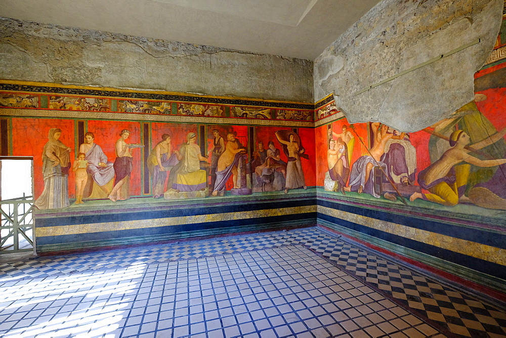 Roman frescoes at Villa of the Mysteries, Pompeii, UNESCO World Heritage Site, the ancient Roman town near Naples, Campania, Italy, Europe - 819-711
