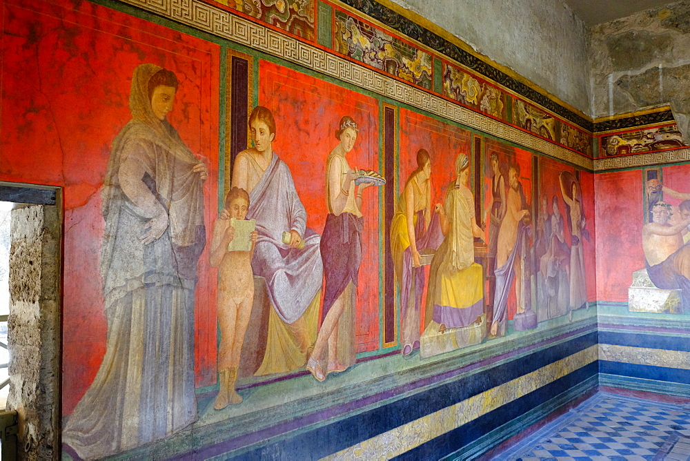 Roman frescoes at Villa of the Mysteries, Pompeii, UNESCO World Heritage Site, the ancient Roman town near Naples, Campania, Italy, Europe - 819-713