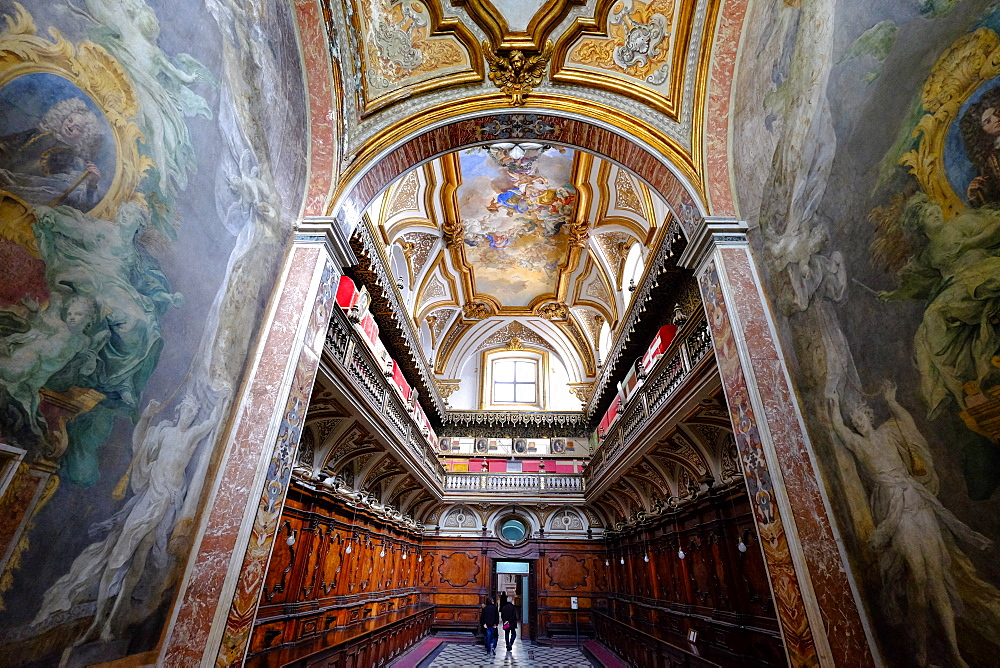 The Sacristy of the San Domenico Maggiore Church housing the coffins of members of the royal Aragonese family, Naples, Campania, Italy, Europe - 819-718