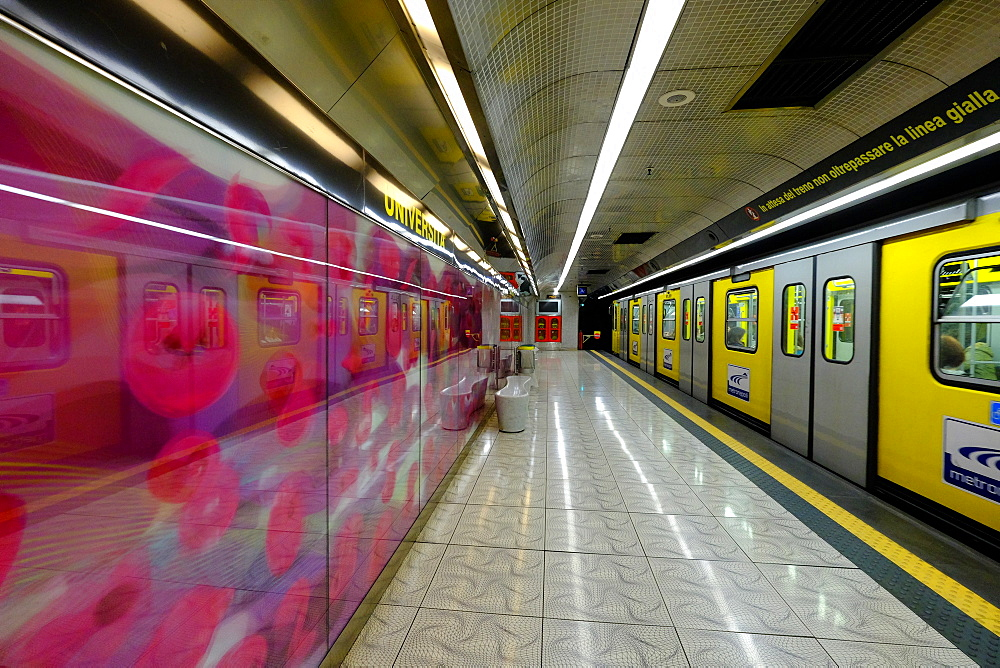 Universita Art Station of Naples Metro, Naples, Campania, Italy, Europe - 819-729