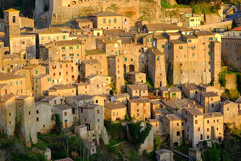View of Sorano seen from Etruscan rock settlement of San Rocco, Maremma, Grosseto, Tuscany, Italy, Europe - 819-745