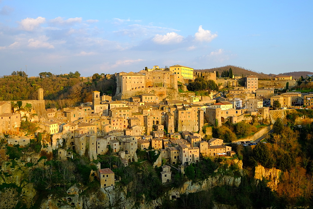 View of Sorano seen from Etruscan rock settlement of San Rocco, Maremma, Grosseto, Tuscany, Italy, Europe - 819-746