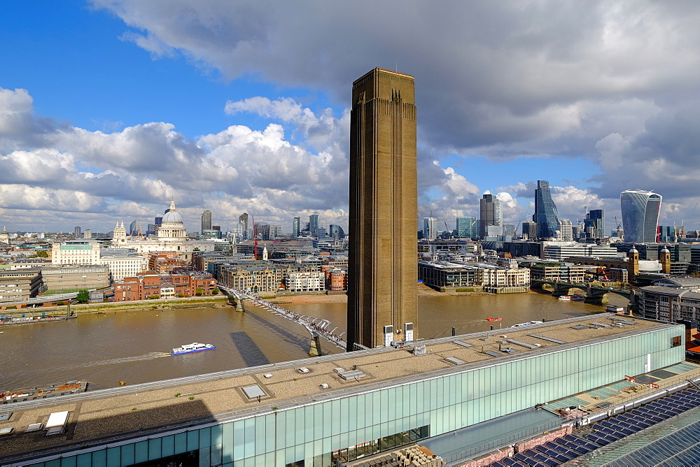 Panoramic view from Tate Modern balcony, London, England, United Kingdom, Europe - 819-776
