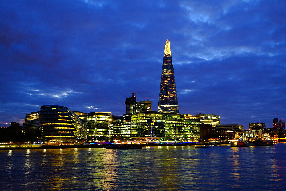 The view over the River Thames to The Shard from Tower Bridge, London, England, United Kingdom, Europe - 819-777