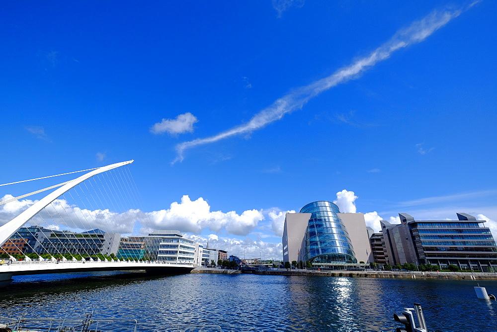 The Convention Centre Dublin and Samuel Beckett Bridge on Liffey River, Dublin, Ireland, Europe - 819-801