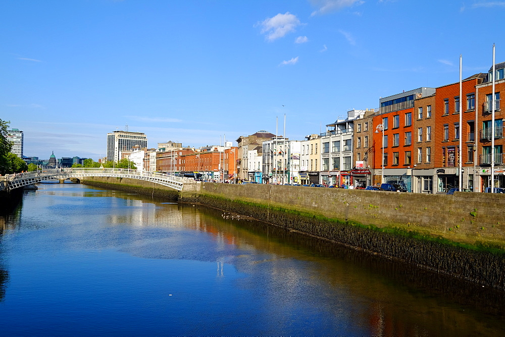 River Liffey flows through the centre of Dublin, Ireland, Europe - 819-806