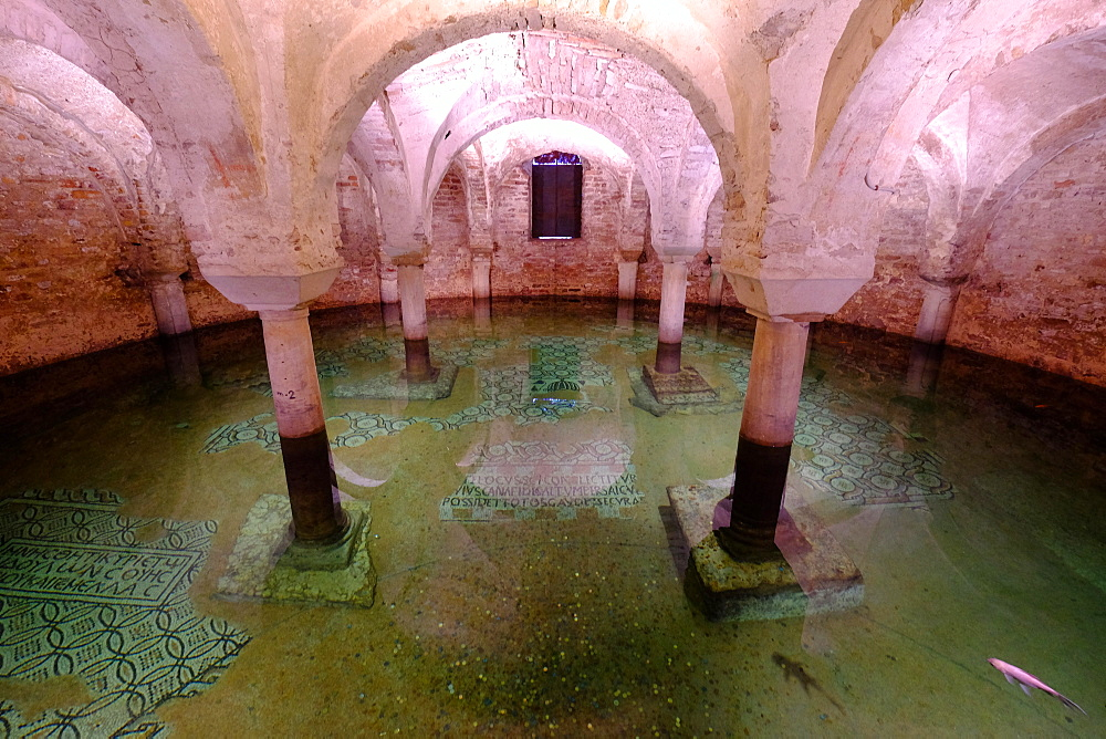 The flooded crypt of the Basilica of San Francesco, Ravenna, Italy, Europe
