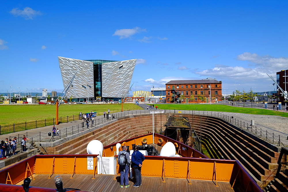SS Nomadic, Belfast's Titanic Quarter with the Titanic Belfast Museum in the background, Belfast, Northern Ireland, United Kingdom, Europe