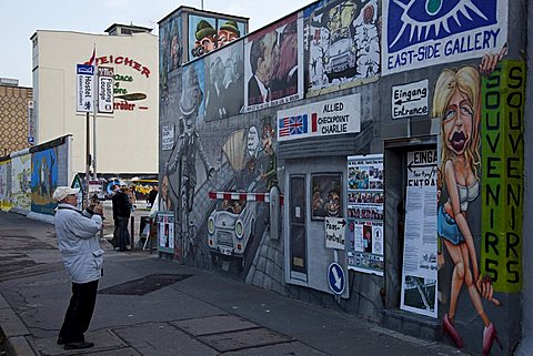 Souvenir shop along the Berliner Mauer, East Side Gallery on Muhlenstrasse, Berlin, Germany, Europe