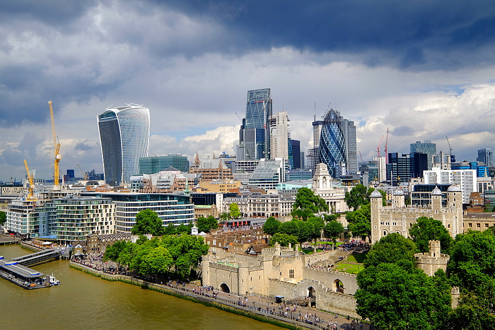 View of the Tower of London and City of London from Tower Bridge, London, England, United Kingdom, Europe