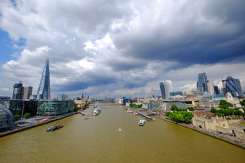 View of London and River Thames from Tower Bridge, London, England, United Kingdom, Europe